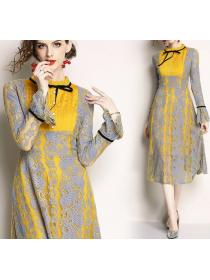 Lace Color Matching Bowknot Dress(size S-2XL)