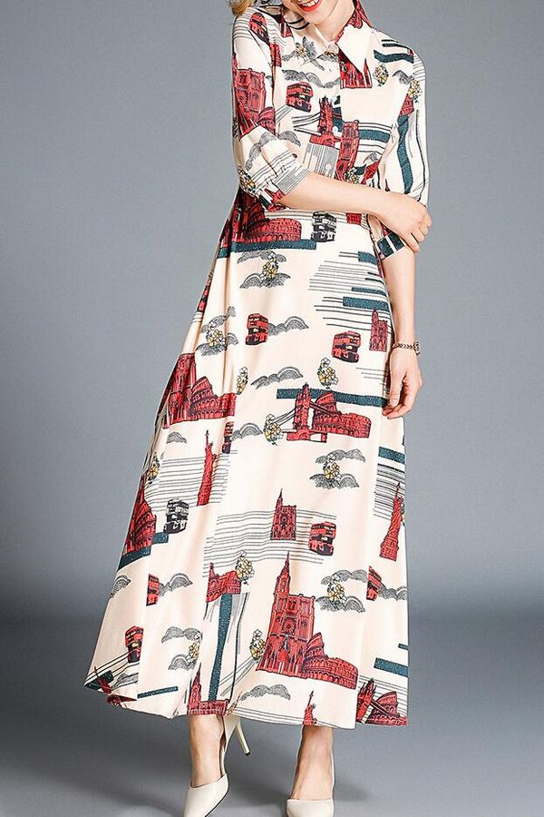 New Arrivals On Sale Doll Collars Printing Dress (size:S-XXL)