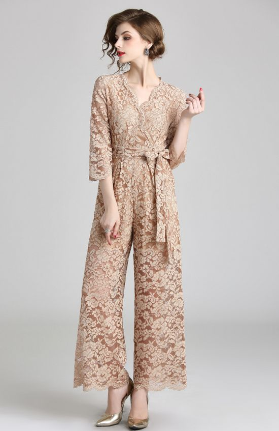 V  Collars Lace Up Jumpsuits