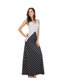 Big Size European Style Sleevelessl Stripes Night out dress