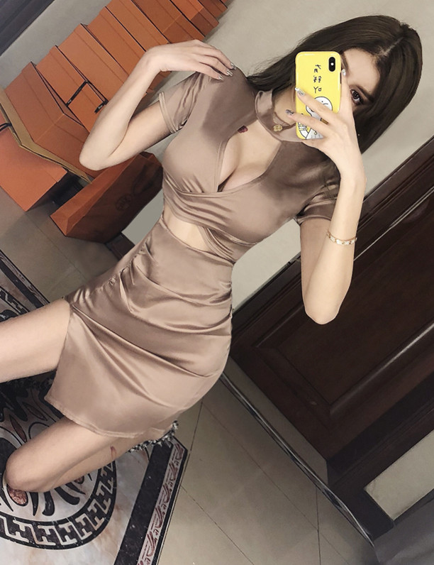 Fashion Lady Flowers V-neck Tie Waist Flare Sleeve Dress