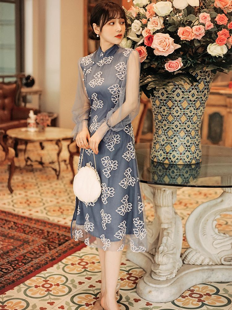China Style Stand Collars Lace Open Fork Dress