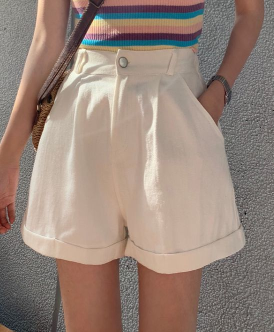 Korean Style Pure Color Tall Waist Short Pants