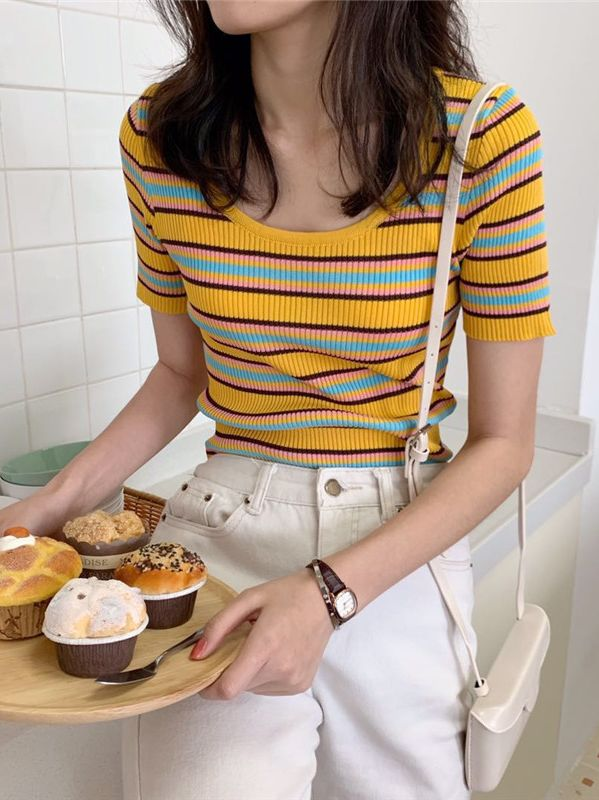 Discount Stripe Knitting Top