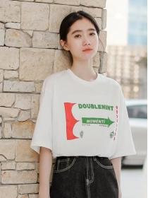 Fashion style Round collar Simple T-shirt