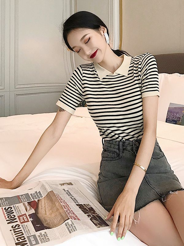 Discount Stripe Knitting T  Shirt