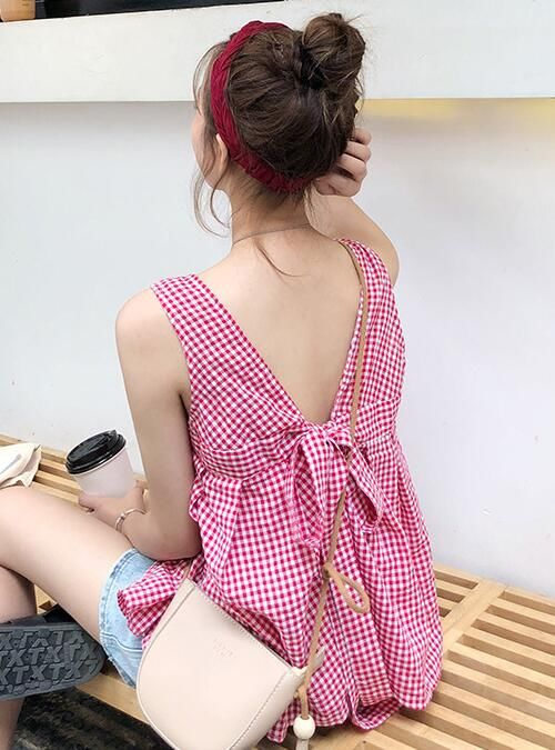 For Sale Strap Loose Back Bowknot Tank