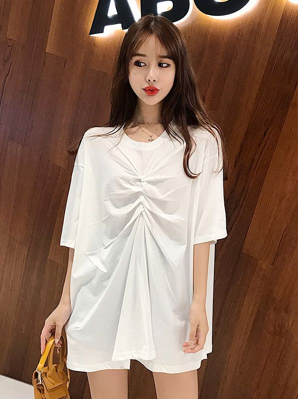 Discount Pure Color Drape T  Shirt