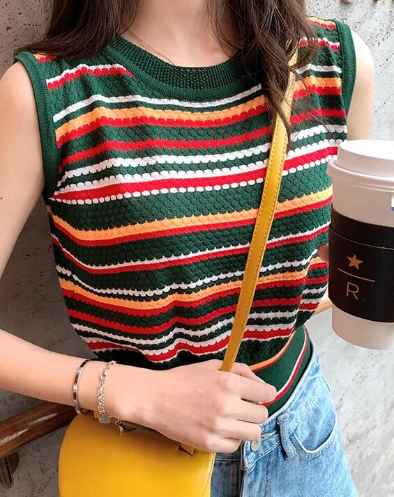 For Sale Stripe Knitting Tank