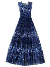 European Style Drape Printing Fashion Dress