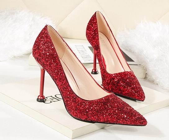 European Style Sequins Matching  Point Toe Shoes