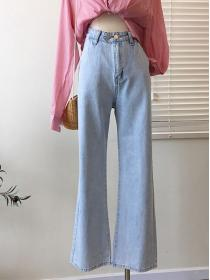 New style Retro fashion Loose High waist Denim pant