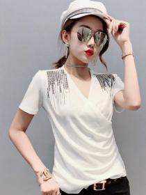 On sale Leisure style V collar Short sleeve T-shirt