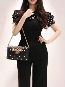 Korean style Fashion Dot print Polo collar+Pure color Jumpsuit