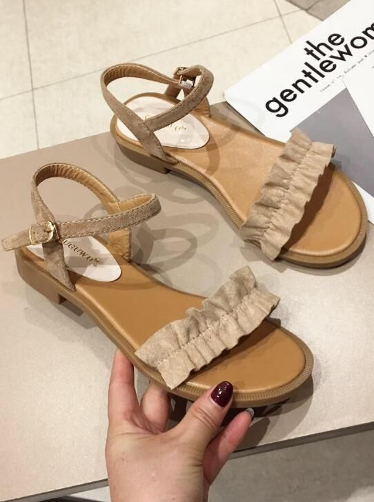 Korean  Style Sweet Soft Pure Color Sandal