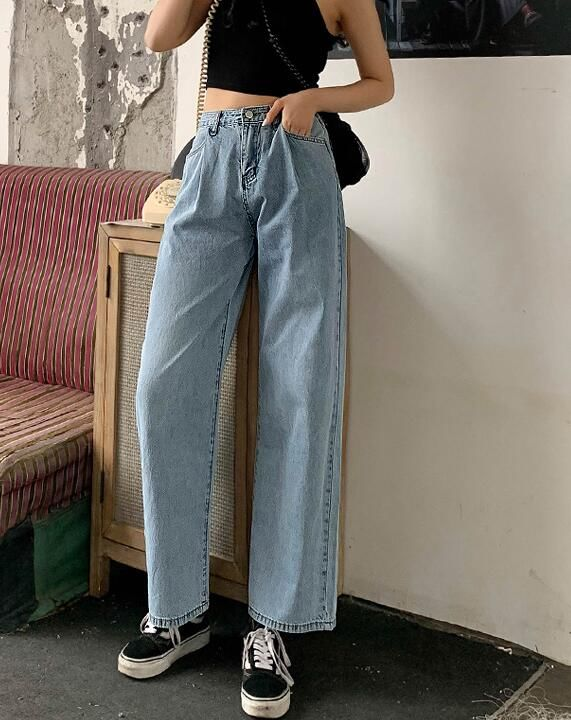 For Sale Pure Color Denim Pants