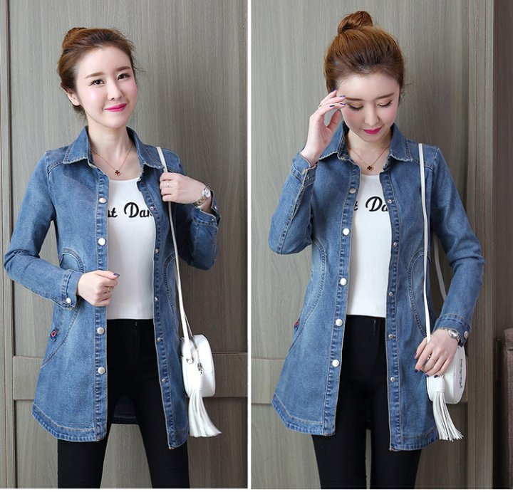 On Sale  Slim autumn and winter Korean style lapel denim coat