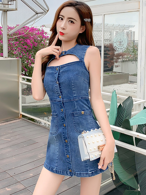 Out Let Preppy Fashion Single-breasted Hollow Out Tank Denim Dress
