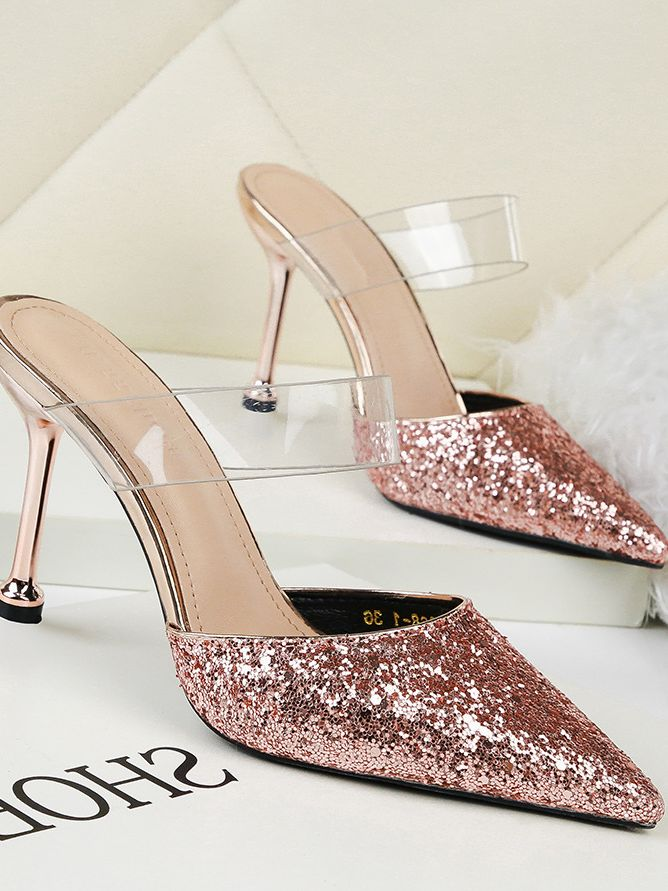 European Style Sequins Matching Transparent Fashion Shoes