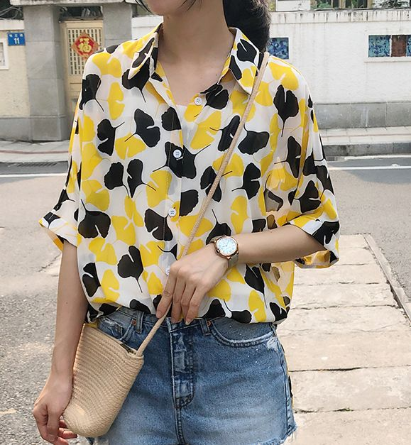 On Sale Chiffon Loose Printing Blouse