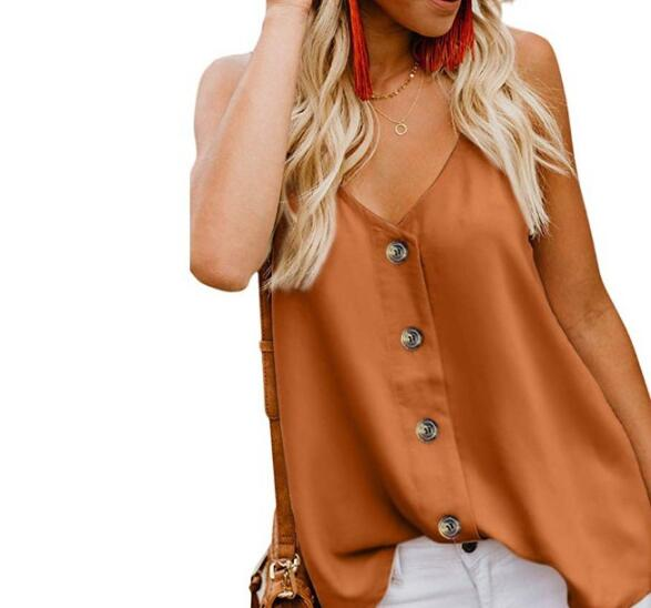 On Sale Pure Color Button Matching  Tank