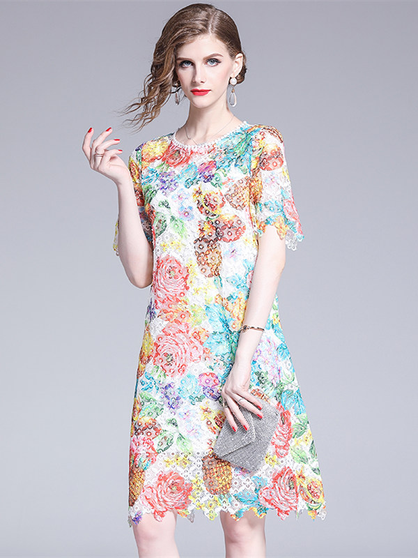Pretty Look Lace Flowers Hollow Out Loosen A-line Dress