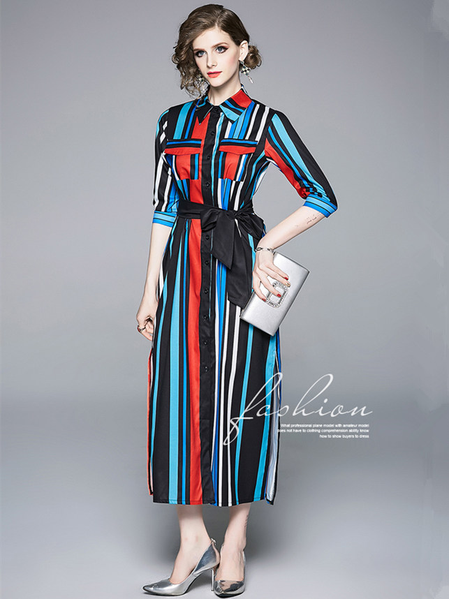 Out Let Classic Fashion Color Block Stripes Tie Waist Shirt Long Dress