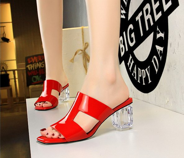 Summer Korean style hollow high-heeled slippers for women
