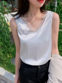 Fashion style Sleeveless V collar Top