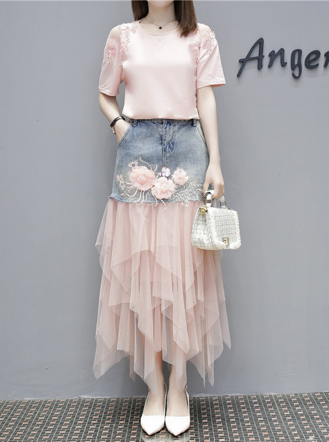 Korea Fashion Beads T-shirt with Flowers Gauze Fluffy Denim Skirt