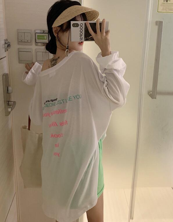 Korean Style  Loose Letter Printing T  Shirt