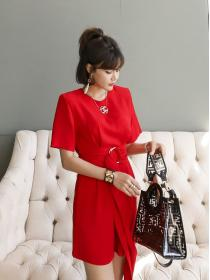 Fashion style Pure color Round collar Jumpsuit