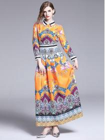 Fashion style National print Long sleeve Dress