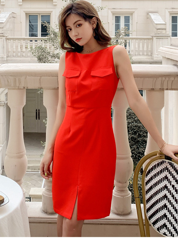 Summer Wholesale Round Neck Split Bodycon Tank Dress