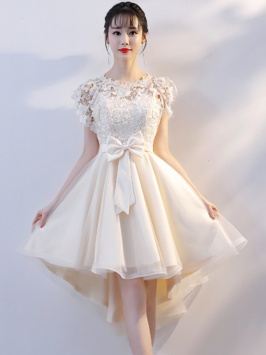 Pretty Lady 4 Colors Bowknot Lace Splicing Dovetail Party Dress