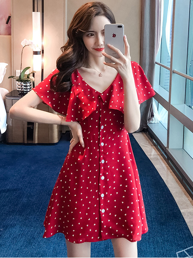 Wholesale Pretty Wraps Shoulder Dots Single-breasted Dress