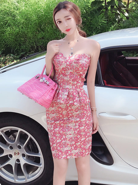 Charming Lady Flouncing Waist Strapless Two Pieces Dress