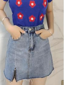 On Sale Light colour Hip-full Denim Skirt