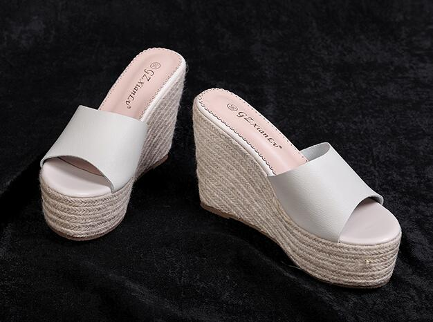Out Let Printing Wedge Heel  Fashion Slipper