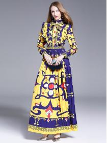 New arrival Colourful pattern Long sleeve Dress
