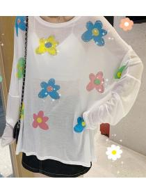 Wholesale Loose Sunproof Flower pattern T-shirt
