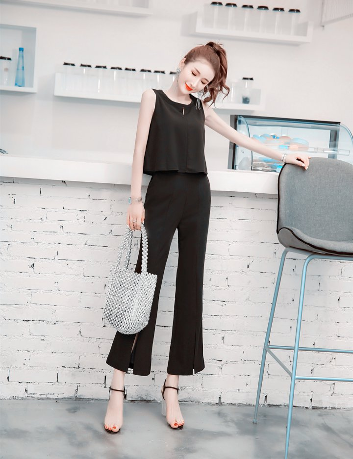 Halter vest France style wide leg pants 2pcs set