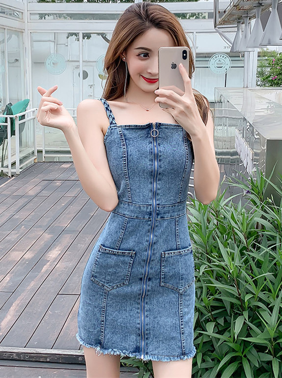 Fashion Korea Zipper Open Straps Bodycon Denim Dress