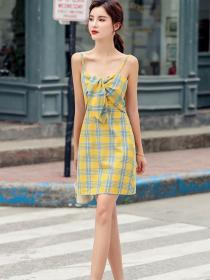On Sale Sexy style Plaid Straps Dress