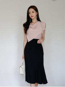 New arrival Pink+Black Two piece suit