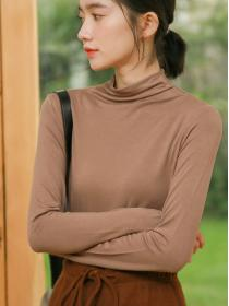 Fashion style Pure color High collar Long sleeve T-shirt