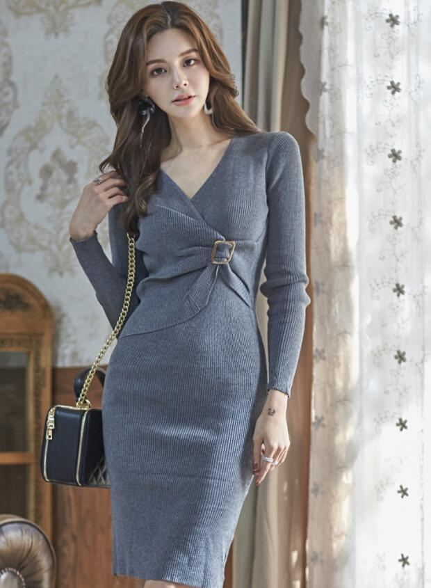 On Sale Knitting Pure Color Dress
