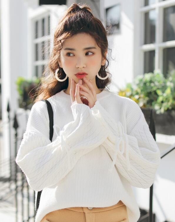 On Sale Pure Color Horn Sleeve Sweater
