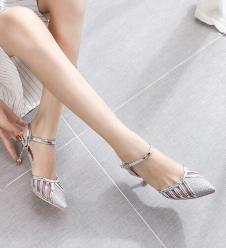 Korean Design Pointed Ankle Straps High Heels