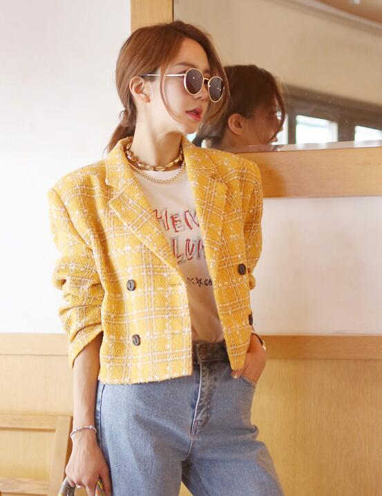 For Sale Doll Collars Grid Printing Blazer